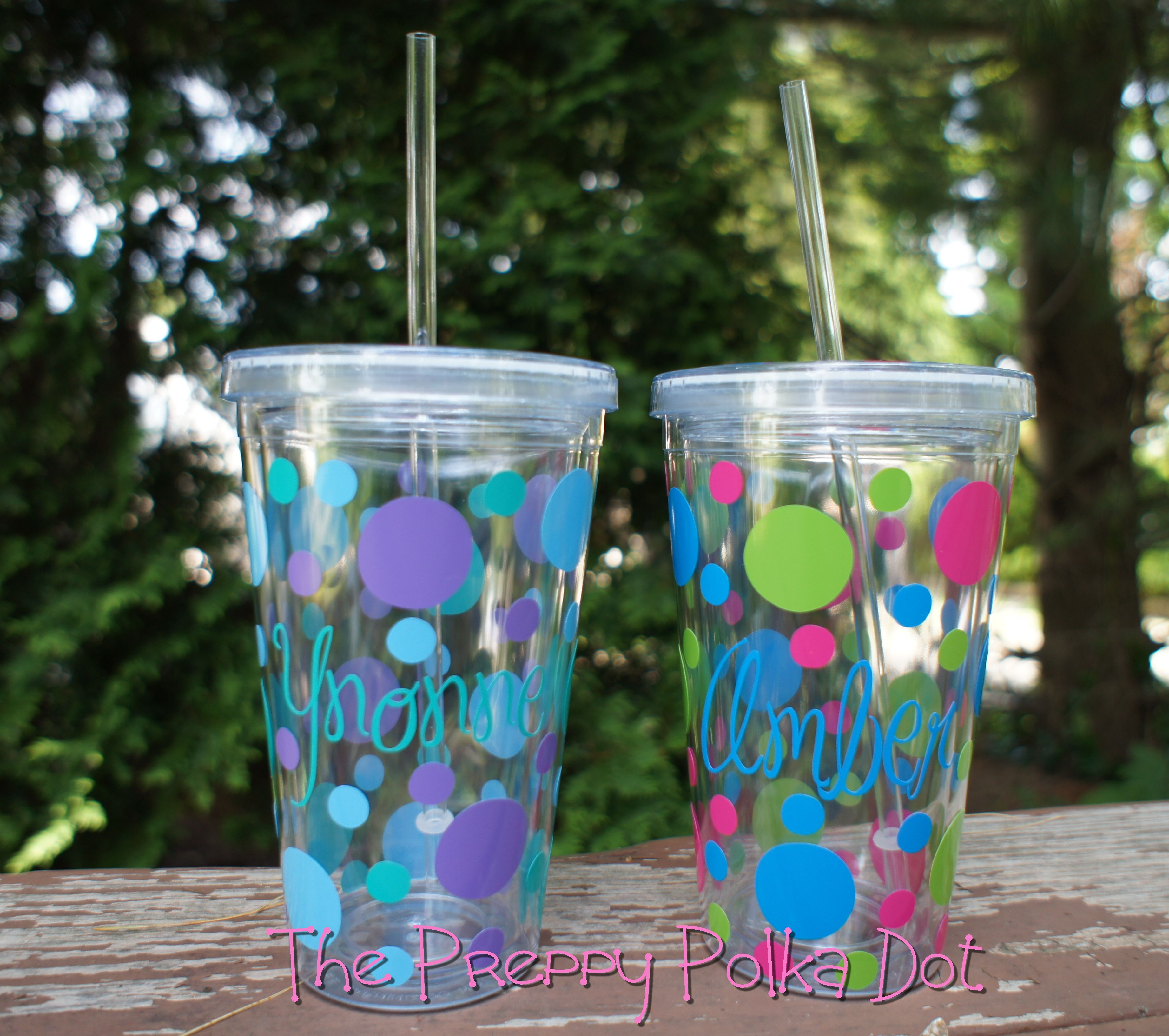 clear personalized cup with lid - 16 oz