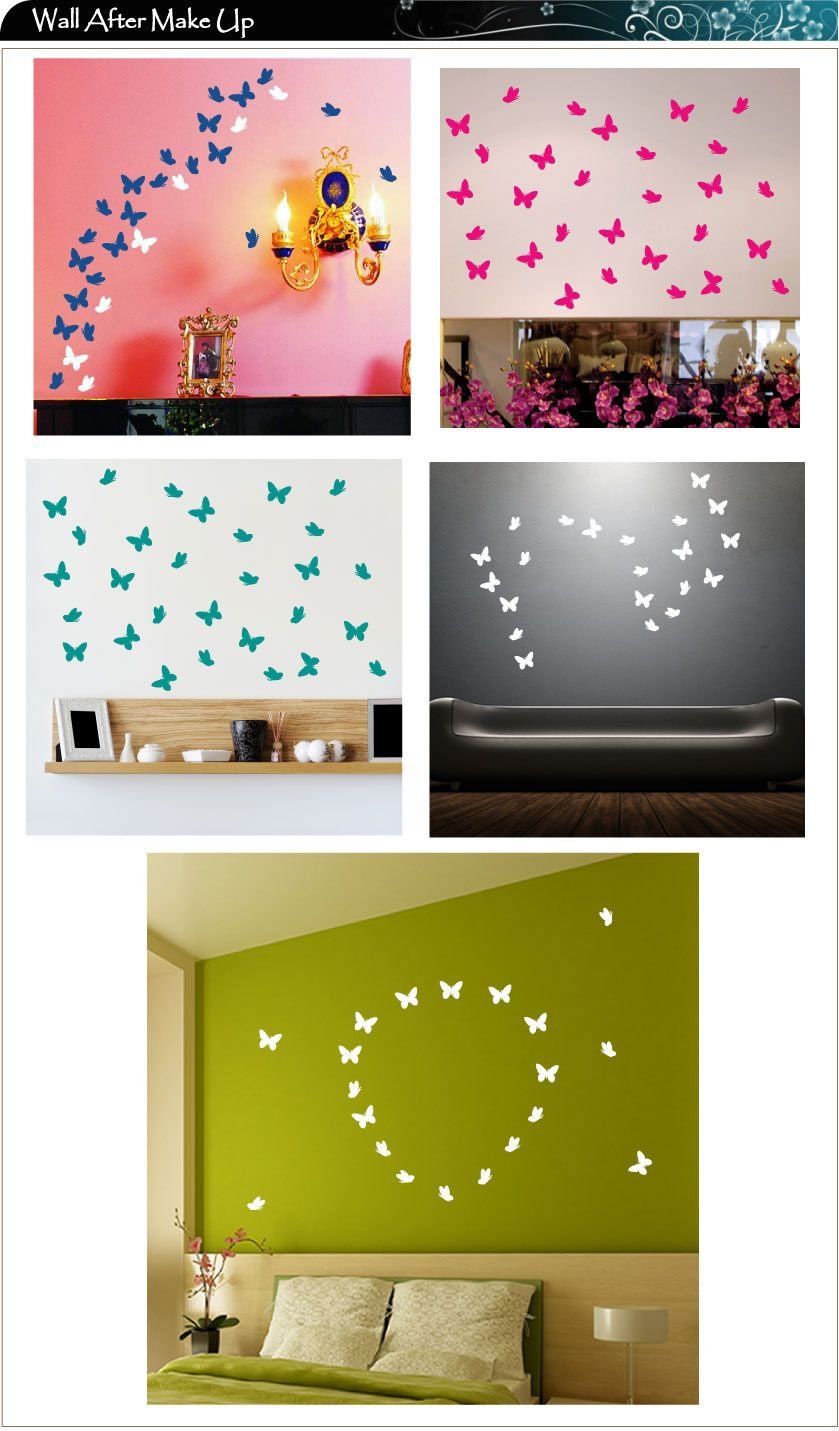 Decals 42 Butterfly Vinyl Wall Art Stickers 22 Colours 2 Different Shapes